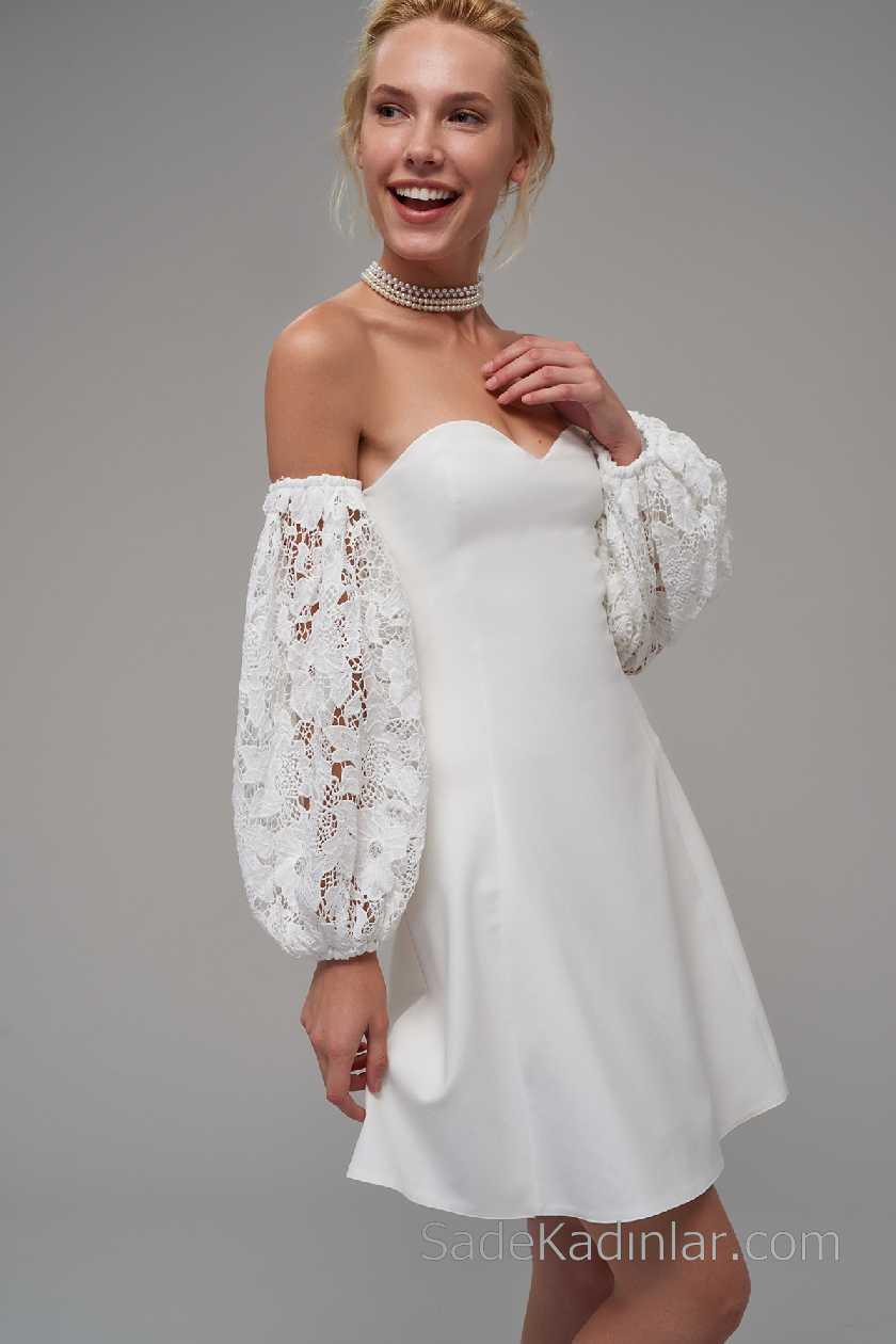 2021 Beyaz Elbise Modelleri Straplez Kalp Yaka Güpür Dantel Kol