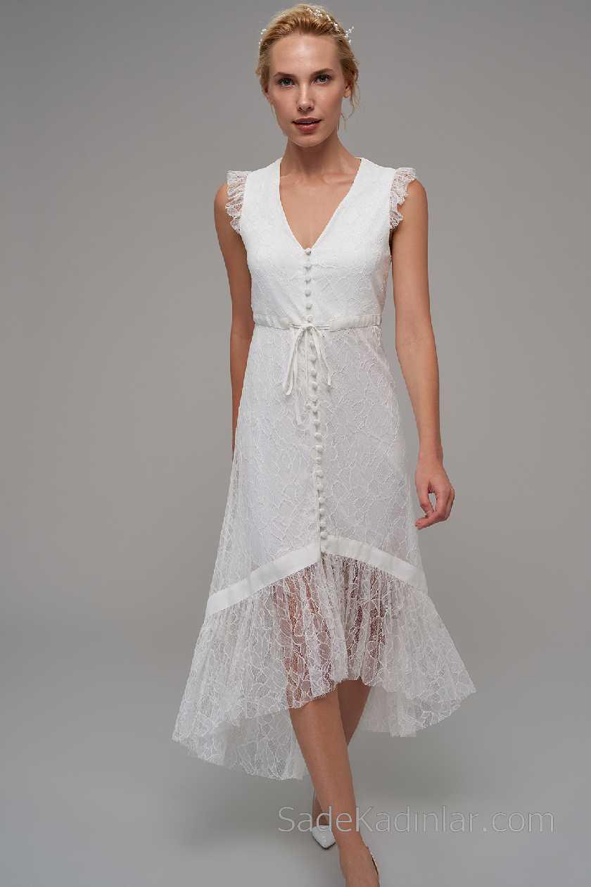 2021 Beyaz Elbise Modelleri V Yakalı Önden Düğmeli Tüllü
