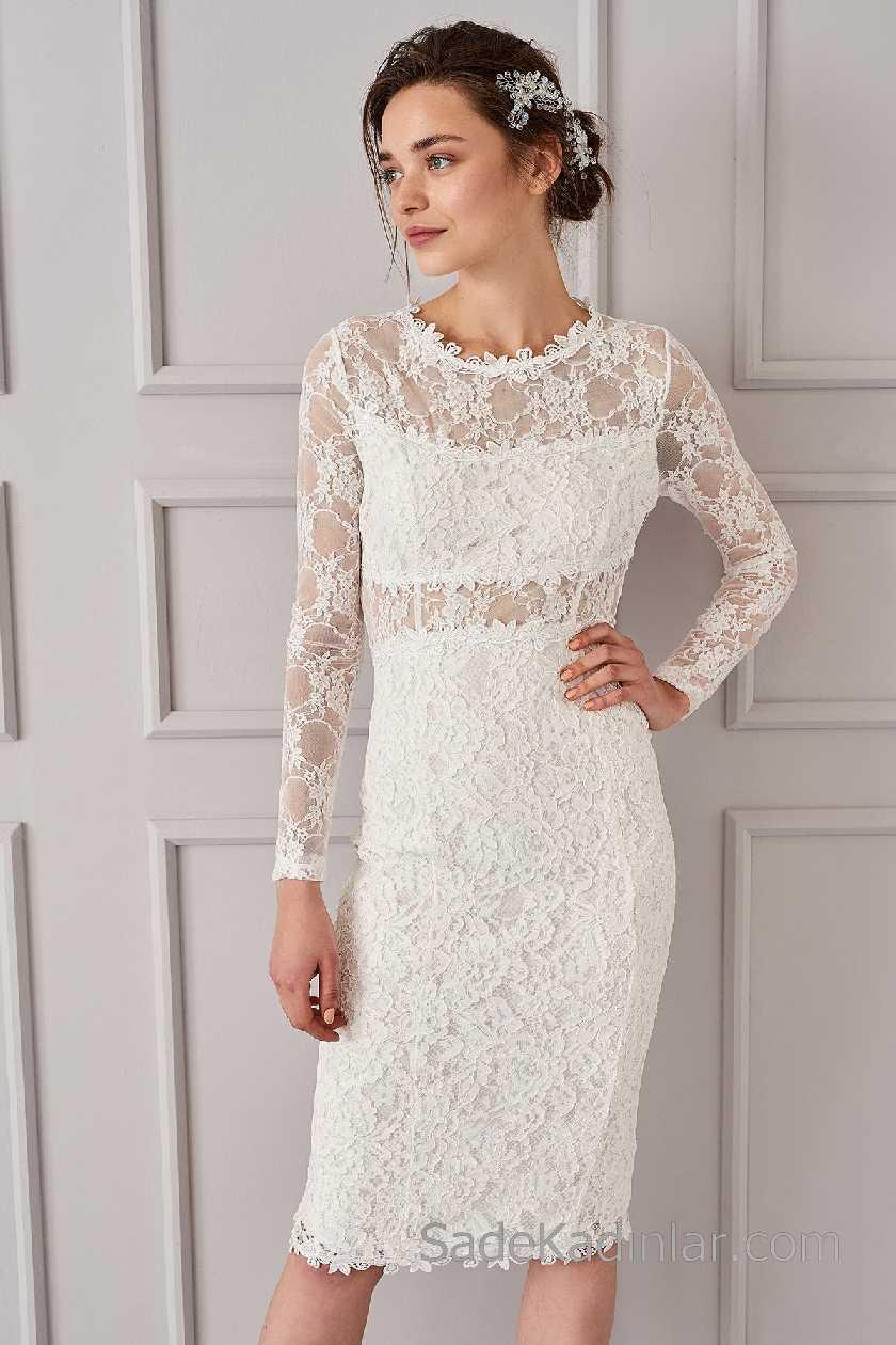2021 Beyaz Elbise Modelleri Yuvarlak Yaka Uzun Kollu Dantelli