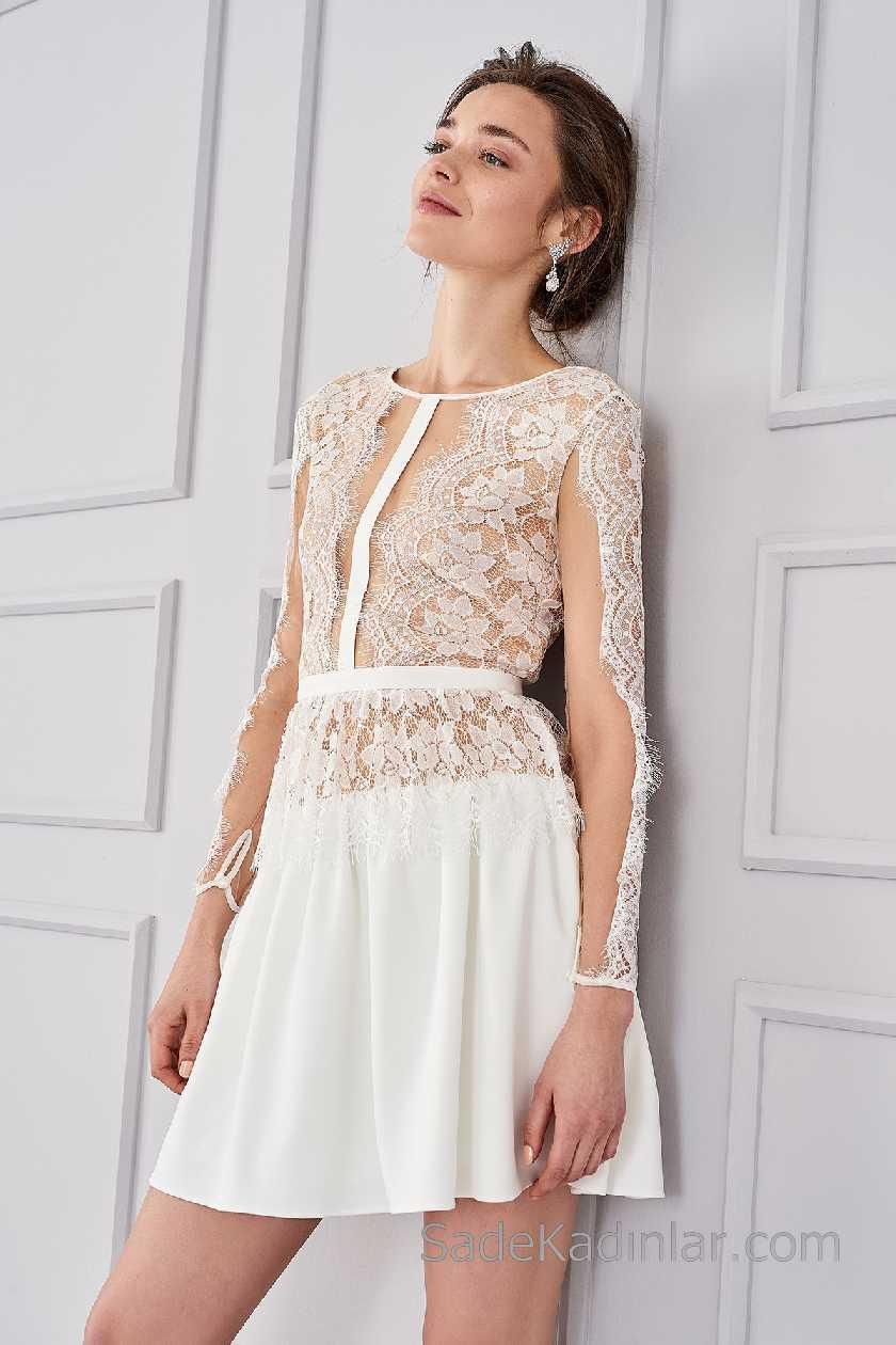 2021 Beyaz Elbise Modelleri Yuvarlak Yaka Uzun Kollu Transparan