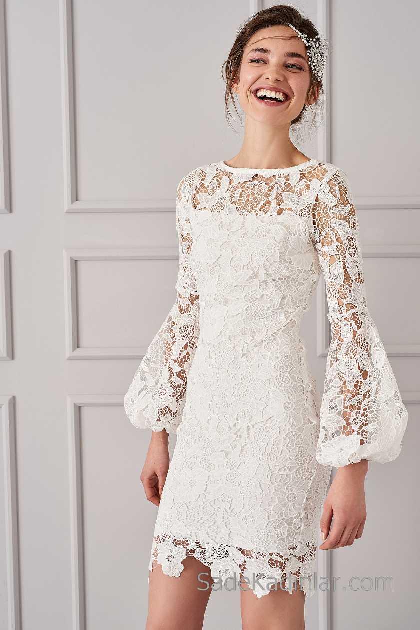 2021 Beyaz Elbise Modelleri Yuvarlak Yaka Uzun Kollu Volanlı Kol