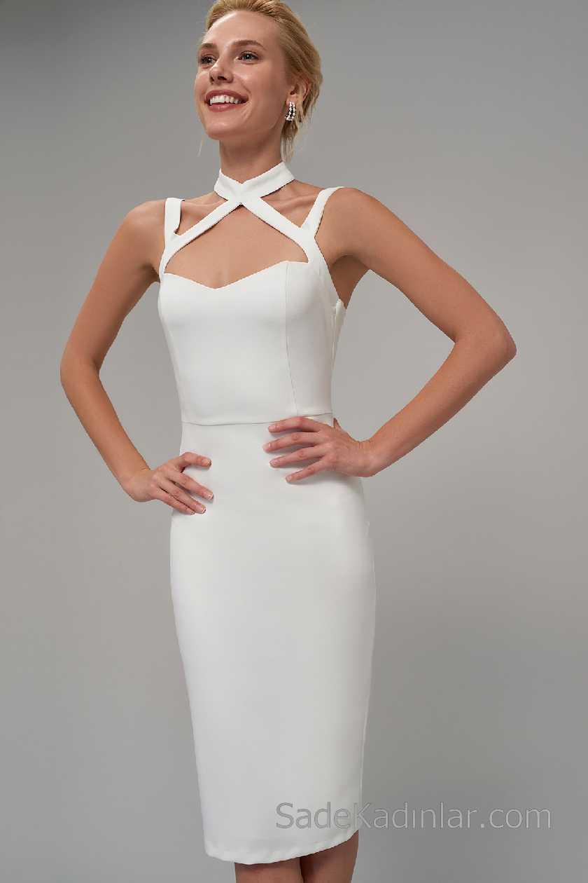 2021 Beyaz Elbise Modelleri Çapraz Kemer Boyundan Askılı Kalp Yaka