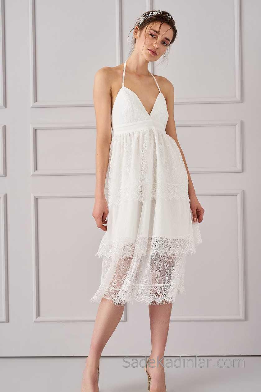 2021 Beyaz Elbise Modelleri İnce Askılı Güpür Dantel Etekli