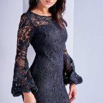 2018 Gece Elbise Modelleri Siyah Kısa Uzun Kollu Güpür Dantel