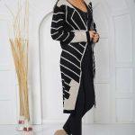 2019 Uzun Hırka Modelleri siyah Uzun Geometrik Desenli