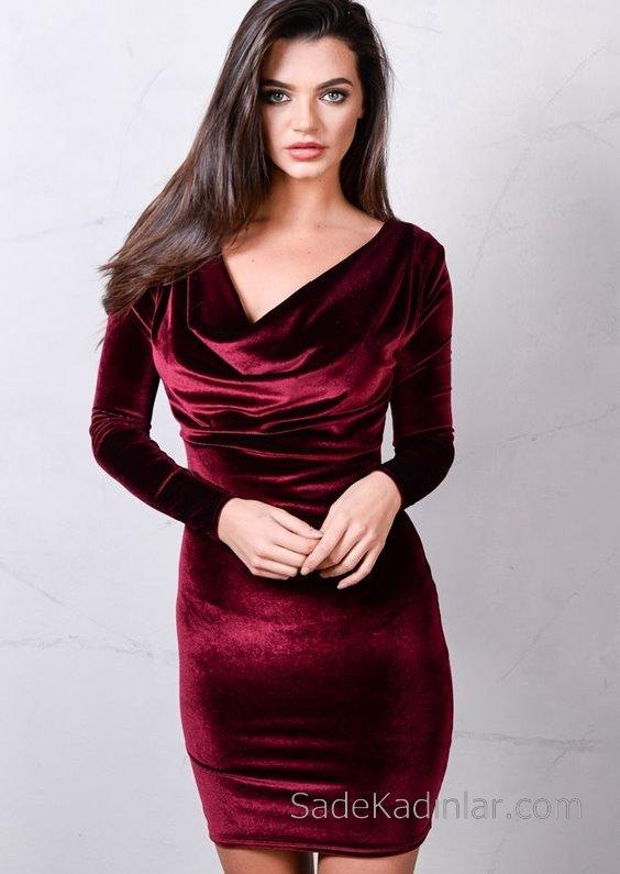 2018 Kadife Elbise Modelleri Bordo Kısa Degaje Yaka Uzun Kollu
