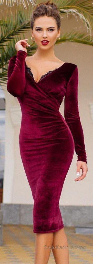 2019 Kadife Gece Elbiseleri Abiye Modelleri Bordo Uzun V Yakalı Uzun Kollu Yakası Dantelli