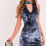 2018 Kadife Elbise Modelleri Gri Kısa Yarım Balıkçı Yaka Kolsuz V Yakalı