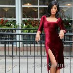 2018 Kadife Elbise Modelleri Kırmızı Kısa Kare Yaka Yırtmaçlı