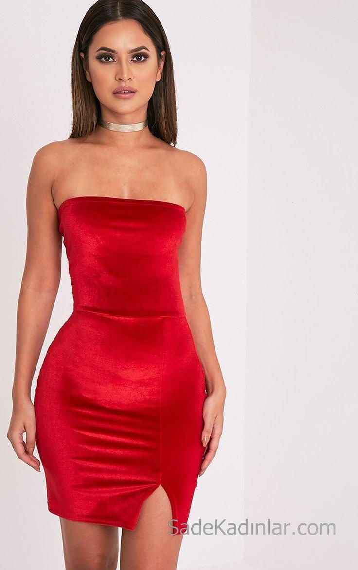 2019 Kadife Gece Elbiseleri Abiye Modelleri Kırmızı Kısa Straplez Önden Küçük Yırtmaçlı