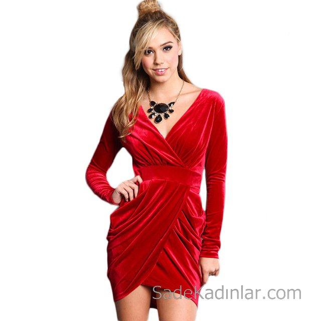 2019 Kadife Gece Elbiseleri Abiye Modelleri Kırmızı Kısa V Yakalı Katlamalı Etek