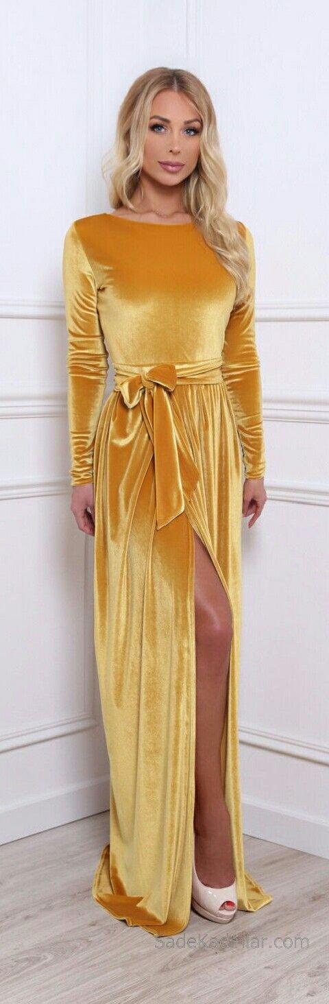 2019 Kadife Gece Elbiseleri Abiye Modelleri Sarı Uzun Yırtmaçlı Belden Kuşak Bağlamalı