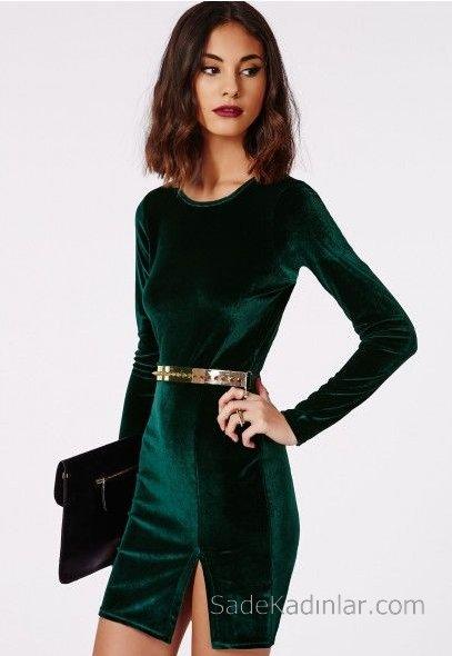 2019 Kadife Gece Elbiseleri Abiye Modelleri Yeşil Kısa Uzun Kollu Yırtmaçlı Kemerli