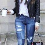 2021 Kış Modası İçin Bayan Spor Kombinler Mavi Eskitme Pantolon Siyah Kısa Ceket
