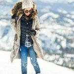 2020 Kış Modası İçin Bayan Spor Kombinler Mavi Pantolon Lacivert Kareli Gömlek Kürklü Mont