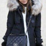 2021 Kış Modası İçin Bayan Spor Kombinler Siyah Deri Pantolon Kürklü Palto