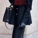 2021 Kış Modası İçin Bayan Spor Kombinler Siyah Deri Pantolon Siyah Kaşe Kaban