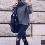 2020 Kış Modası İçin Bayan Spor Kombinler Siyah Pantolon Gri Boğazlı Kazak