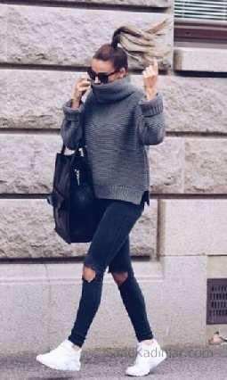 2021 Kış Modası İçin Bayan Spor Kombinler Siyah Pantolon Gri Boğazlı Kazak