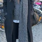2020 Kış Modası İçin Bayan Spor Kombinler Siyah Pantolon Gri Desenli Kazak