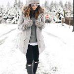 2021 Kış Modası İçin Bayan Spor Kombinler Siyah Pantolon Gri Kazak Ve Kaşe Kaban