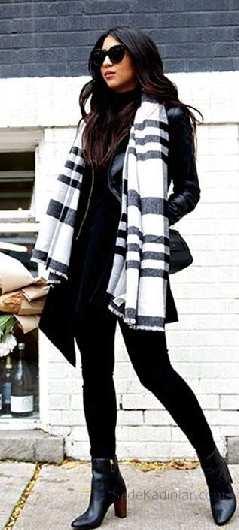 2018 Kış Kombinleri Siyah Pantolon Siyah Deri Ceket