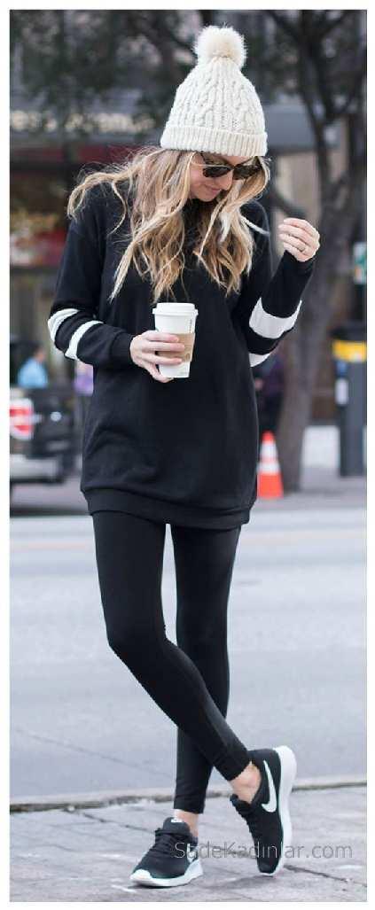 2021 Kış Modası İçin Bayan Spor Kombinler Siyah Pantolon Siyah Kolları Çizgili Kazak