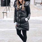 2020 Kış Modası İçin Bayan Spor Kombinler Siyah Pantolon Siyah Şişme Mont