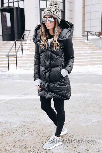 2021 Kış Modası İçin Bayan Spor Kombinler Siyah Pantolon Siyah Şişme Mont