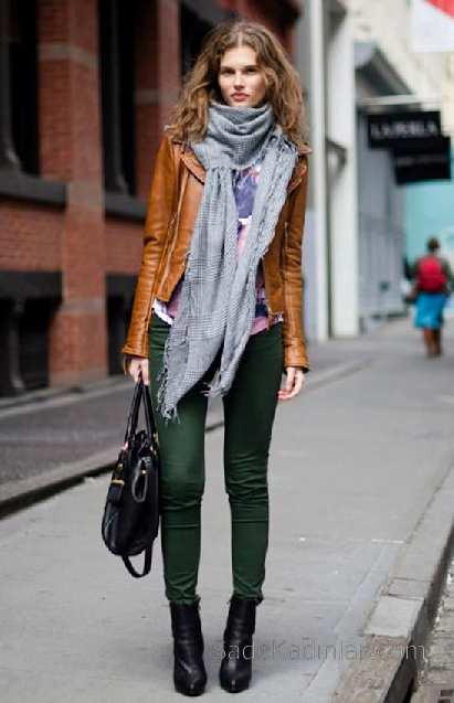2021 Kış Modası İçin Bayan Spor Kombinler Yeşil Pantolon Gri Atkı Taba Deri Ceket