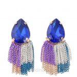 2019 Küpe Modelleri Saks Mavi Taşlı Renkli Zincirli