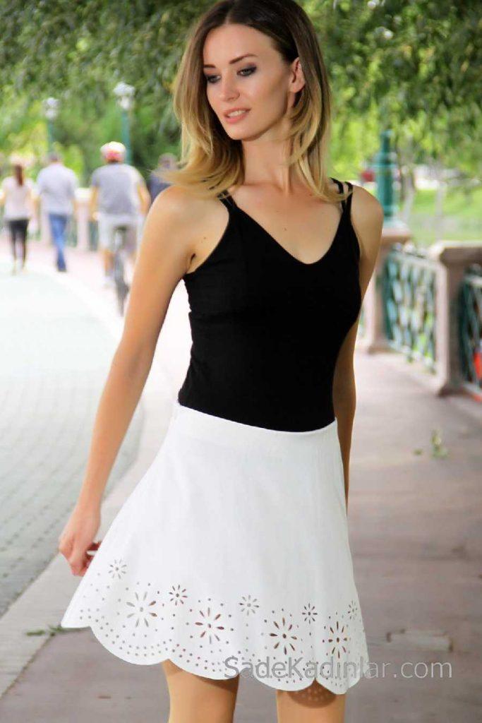 2018 Mini Etek Modelleri Beyaz Kısa Etekleri Lazer Kesim