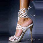 2018 Stiletto Ayakkabı Modelleri Beyaz Dantelli Arkadan Bağlamalı