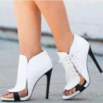 2018 Stiletto Ayakkabı Modelleri Beyaz Önü Açık Yandan İp Bağcıklı