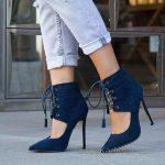 2018 Stiletto Ayakkabı Modelleri Lacivert Bilekten Gömlek Bağlamalı