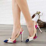 2018 Stiletto Ayakkabı Modelleri Mavi Pembe Renkli Arkası Açık