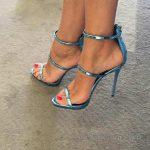 2018 Stiletto Ayakkabı Modelleri Mavi Önü Açık Bilekten Kemerli Fermuarlı
