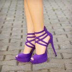 2018 Stiletto Ayakkabı Modelleri Mor Çapraz Bağcıklı