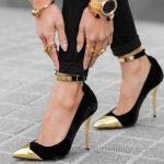 2018 Stiletto Ayakkabı Modelleri Siyah Bilekten Bağlamalı Tokalı