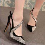 2018 Stiletto Ayakkabı Modelleri Siyah Bilekten Tokalı Taş Süslemeli
