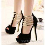 2018 Stiletto Ayakkabı Modelleri Siyah T Kayışlı Gold Şeritli