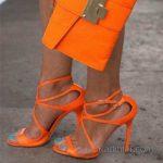 2018 Stiletto Ayakkabı Modelleri Turuncu Ayak Bilekten Bağlamalı Tokalı