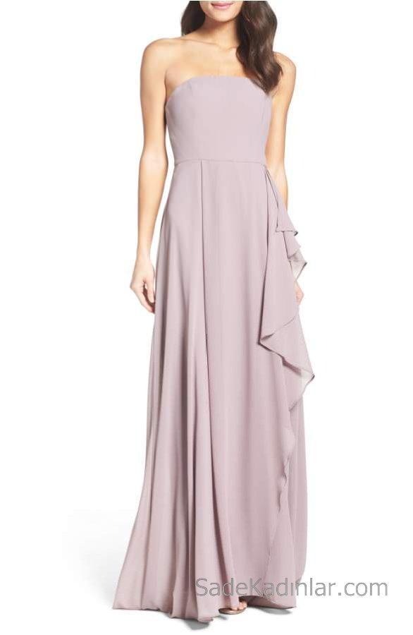 2018 Şifon Elbise Modelleri Eflatun Uzun Straplez Eteği Fırfır Detaylı