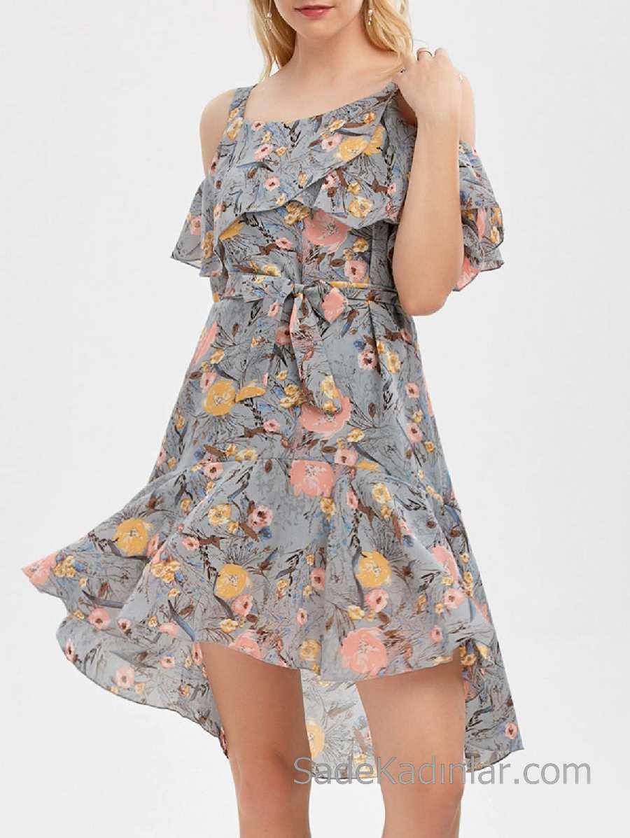 Siyah-beyaz-çiçek-desenli-şık-elbise