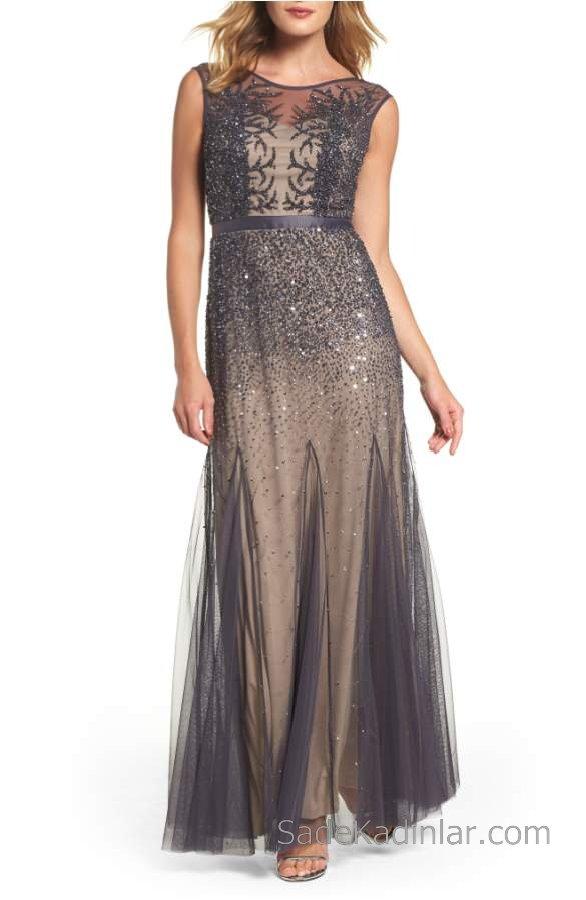 2018 Şifon Elbise Modelleri Gri Uzun Kolsuz Boncuk İşlemeli