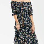 2018 Şifon Elbise Modelleri Lacivert Uzun Straplez Yakası İp Bağcıklı Çiçekli