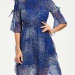 2018 Şifon Elbise Modelleri Mavi Kısa Kapalı Yaka Beli Lastikli Desenli