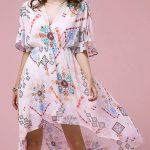 2018 Şifon Elbise Modelleri Pembe Kısa V Yakalı Kısa Kollu Desenli