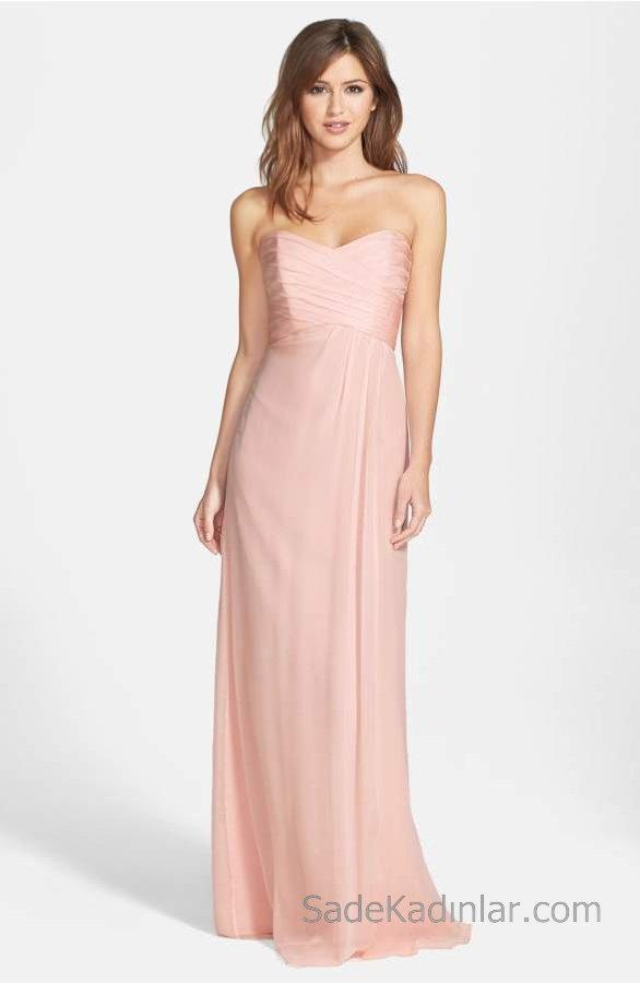 2018 Şifon Elbise Modelleri Pudra Uzun Straplez Kalp Yaka