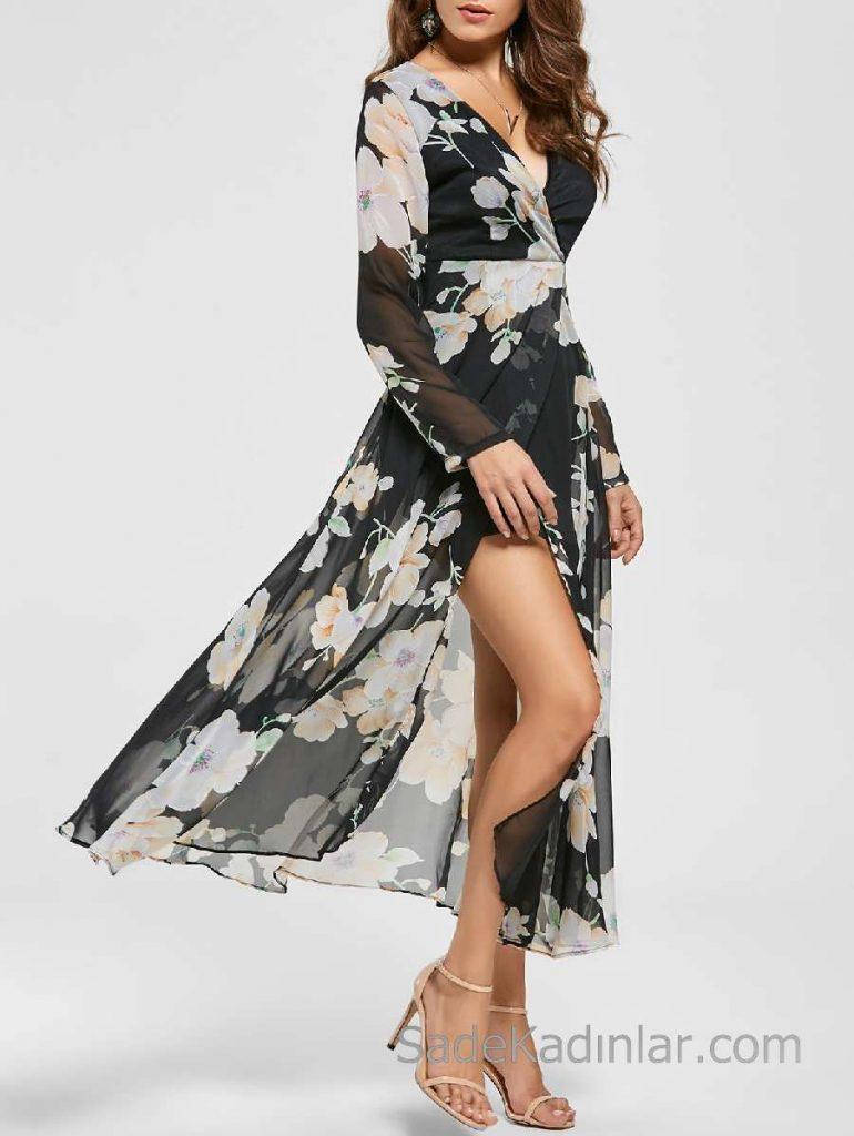 2018 Şifon Elbise Modelleri Siyah Uzun V Yakalı Yırtmaçlı Desenli